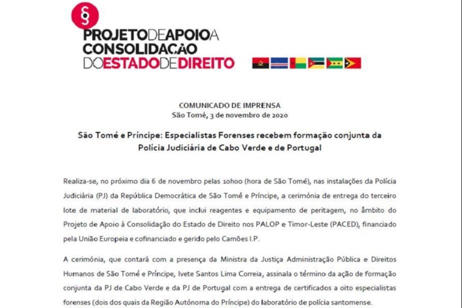 São Tomé e Príncipe: Especialistas Forenses recebem formação conjunta da Polícia Judiciária de Cabo Verde e de Portugal
